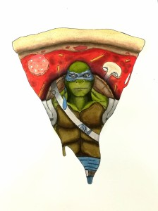 Graphisme Tortue ninja et pizza
