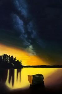 Barque et ciel étoilé