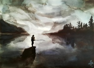 Pecheur au bord du lac 02