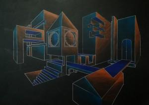 Perspective fond noir et couleurs 01