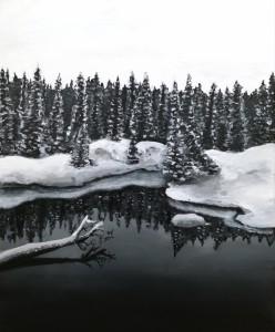 Sapins enneiges au bord du lac